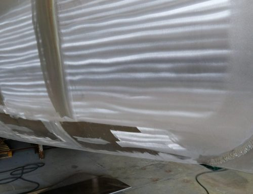 A view of aluminum work on the hull #1 of Garcia Exploration 60