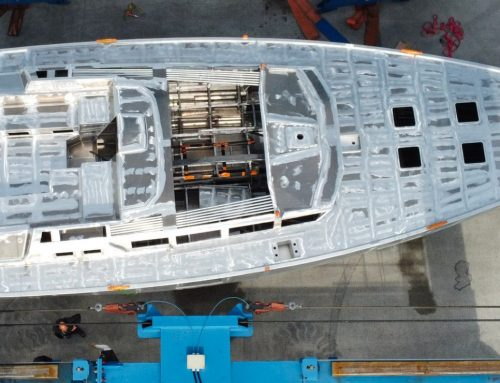 The bare hull of Garcia Exploration 60 #1 arrived in Cherbourg